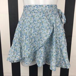 Denim & Supply Ralph Lauren Blue Floral Wrap Skirt